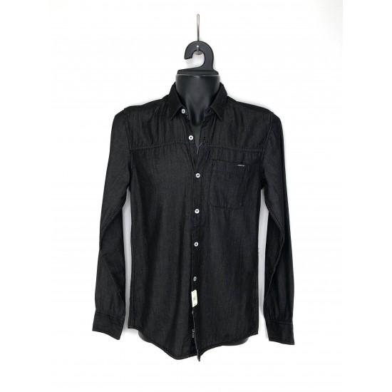 Cropp men's shirts, black color, front button closure, slim fit