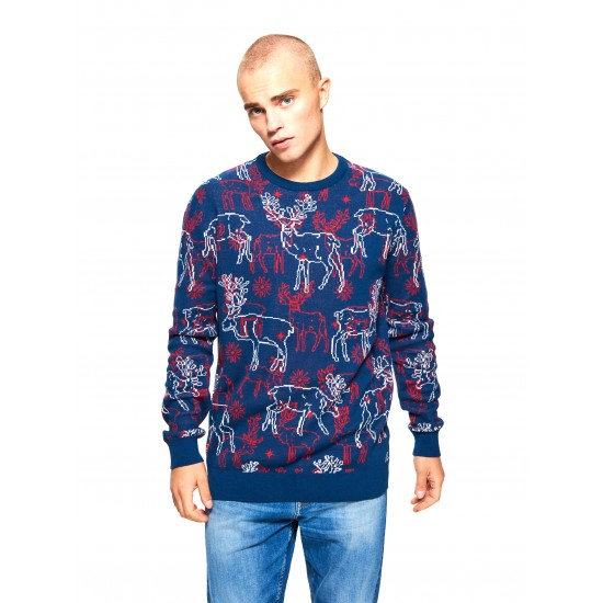 """Cropp men's sweater """"christmas"""", navy blue color TS203-59X"""