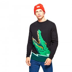 Cropp men's sweater, black color with crocodile, long sleeves