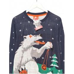 "Cropp men's sweater ""christmas"", navy blue color UI759-59X"
