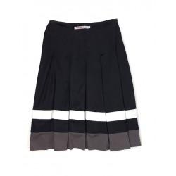 Depeche Mode Women's Satin Skirt Black Color with White / Brown Stripes