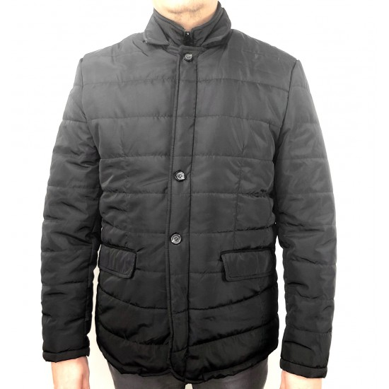 Doppelgänger BLACK JACKET WITH BUTTONS AND DOUBLE ZIP, WATERPROOF 27gb168