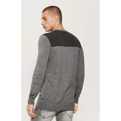 House men's sweater gray color with button closure at the neck and long sleeves