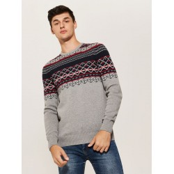 House men's sweater gray color with colored ornament