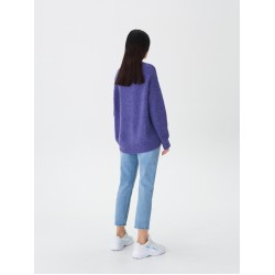 """House woman's sweater with wool, purple color, long sleeves, """"over size"""" style"""