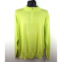 Edward Spiers Men's Sweater with Long Collar, Salad Green Color