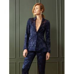 Mohito women's blazer  blue color with flower ornament, fabric like satin