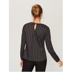 Mohito women's blouse dark brown color with vertical colored stripes, with buttons on the sleeves and on the back of the neck.