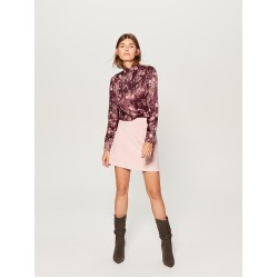 Mohito women's satin blouse, dark cherry color with floral ornament