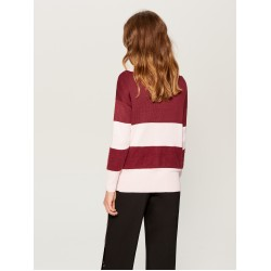 Mohito women's sweater, light pink / burgundy color with button closure