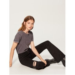 Mohito women's trousers black color with a raised waist