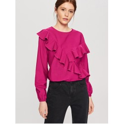 Reserved women's blouse violet red color with a lace up front