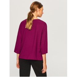 Reserved women's blouse dark violet color with three-quarter sleeves