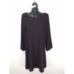 Concept Reserved women's dress burgundy color with black lines ornament