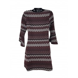 Concept Reserved Ladies Dress Burgundy color with black and white ornaments