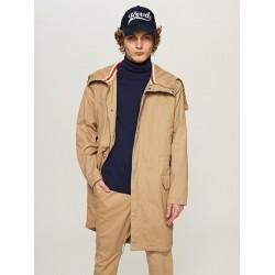 Reserved long men's jacket light brown color with hood