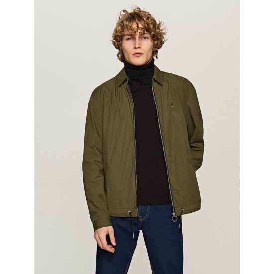 Reserved men's khaki color shirt with zipper at the front