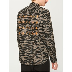 Reserved men's shirt, black / brown / gray color ornament with sigh on the back