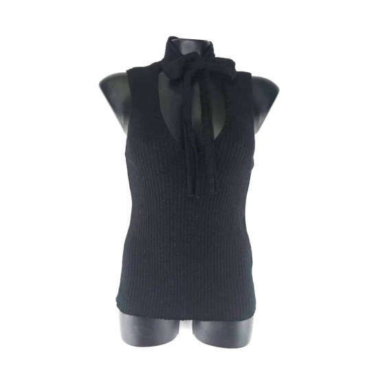 Concept Reserved women's west, black color, glossy with a drawstring at the neck