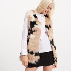 Reserved women's faux fur vest, multicolored