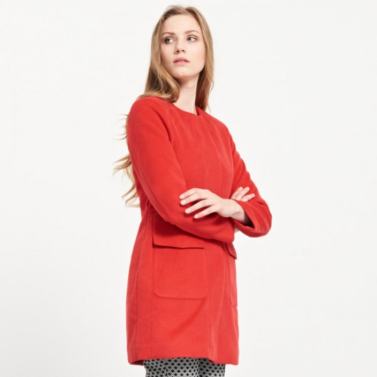 Reserved women's coat, red color