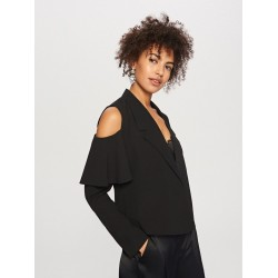 Reserved women's blazer black color without clasp, bare shoulders