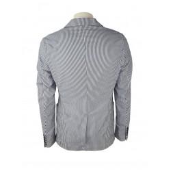 Sisley Men's Cotton Blazer 2cpr527a9 901 White / Blue Color, Striped