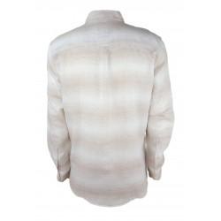 Sisley men's striped shirt, white / brown color 5fw85qe49 902