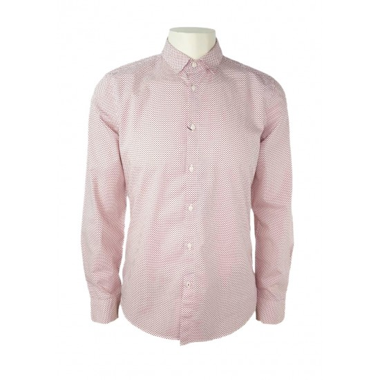 Sisley men's shirt with hearts, white/red color 5abe5qde9 901