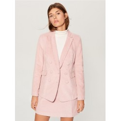 Mohito women's blazer pink color, barchatic fabric