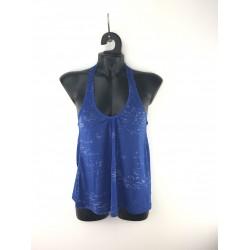 Zelia women's t-shirt with lace braces, blue color