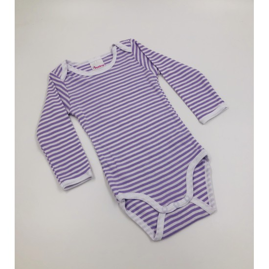 Impidimpi baby bodysuit, white/purple color, striped, long sleeves